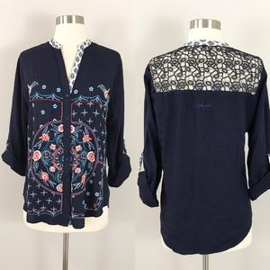 Desigual large Blouse Top Embroidered Lace Blue Floral